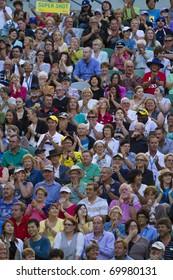 MELBOURNE, AUSTRALIA - JANUARY 26: The crowd watches David Ferrer(ESP)[7] defeat Rafael Nadal(ESP)[1] at the Australian Open on January 26, 2011 in Melbourne, Australia