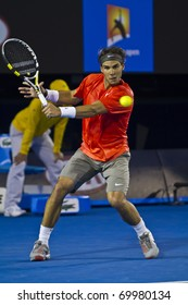 MELBOURNE, AUSTRALIA - JANUARY 26: Rafael Nadal(ESP)[1] is defeated by David Ferrer(ESP)[7] at the Australian Open on January 26, 2011 in Melbourne, Australia