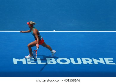 MELBOURNE, AUSTRALIA - JANUARY 27, 2016: Professional tennis player Angelique Kerber of Germany in action during her quarterfinal match at Australian Open 2016 at Rod Laver Arena in Melbourne Park