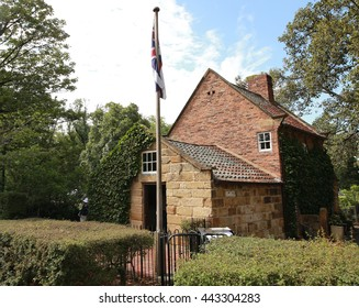 MELBOURNE, AUSTRALIA - JANUARY 27, 2016: Cook's Cottage is located in the Fitzroy Gardens, Melbourne, Australia. The cottage was constructed in 1755 in the English village of Great Ayton