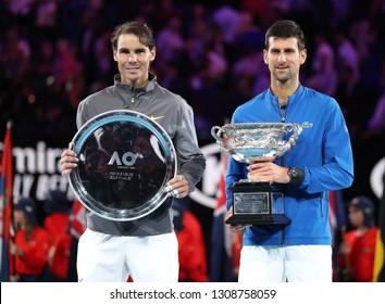 MELBOURNE, AUSTRALIA - JANUARY 27, 2019: Rafael Nadal of Spain (L) and 2019 Australian Open champion Novak Djokovic during trophy presentation after men's final match in Melbourne Park