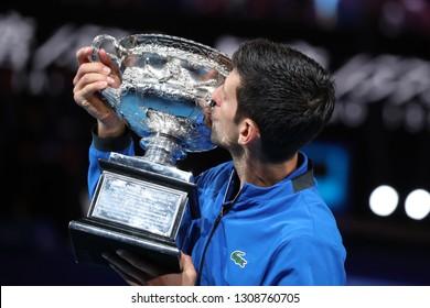 MELBOURNE, AUSTRALIA - JANUARY 27, 2019: 2019 Australian Open champion Novak Djokovic of Serbia  during trophy presentation after men's final match at Rod Laver Arena in Melbourne Park