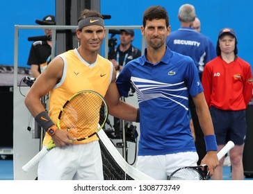 MELBOURNE, AUSTRALIA - JANUARY 27, 2019: Grand Slam Champions Rafael Nadal of Spain (L) and Novak Djokovic of Serbia at Rod Laver Arena before 2019 Australian Open men's final match in Melbourne Park