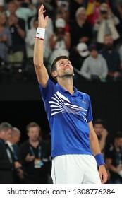 MELBOURNE, AUSTRALIA - JANUARY 27, 2019: 2019 Australian Open champion Novak Djokovic of Serbia celebrates victory after men's final match against Rafael Nadal of Spain at Rod Laver Arena in Melbourne