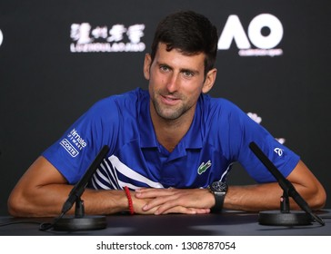 MELBOURNE, AUSTRALIA - JANUARY 27, 2019: 2019 Australian Open Champion Novak Djokovic of Serbia during press conference after his men's final match against Rafael Nadal of Spain in Melbourne Park