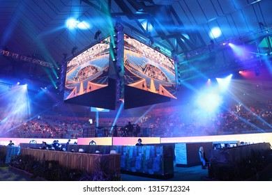 MELBOURNE, AUSTRALIA - JANUARY 27, 2019: Hundreds Fortnite gamers compete during Fortnite Summer Smash at Australian Open 2019 in Melbourne. Fortnite is an online video game developed by Epic Games.