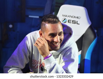 MELBOURNE, AUSTRALIA - JANUARY 27, 2019: Professional tennis player Nick Kyrgios joints hundreds Fortnite gamers to compete during Fortnite Summer Smash at Australian Open 2019 in Melbourne