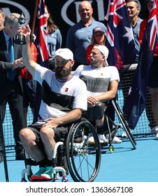 MELBOURNE, AUSTRALIA - JANUARY 27, 2019: Grand Slam finalist David Wagner of United States during trophy presentation after 2019 Australian Open  quad wheelchair singles final match in Melbourne Park