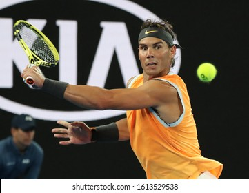 MELBOURNE, AUSTRALIA - JANUARY 27, 2019: Seventeen times Grand Slam champion Rafael Nadal of Spain in action during his final match against Novak Djokovic at 2019 Australian Open in Melbourne Park