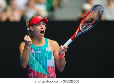 MELBOURNE, AUSTRALIA - JANUARY 27 : Angelique Kerber in action at the 2016 Australian Open