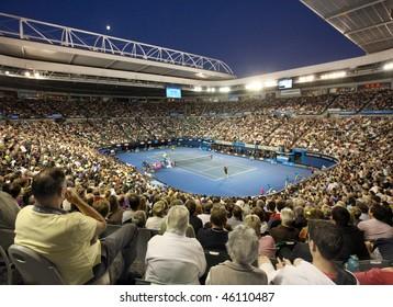 MELBOURNE, AUSTRALIA - JANUARY 27: Quarter final at Rod Laver Arena during the 2010 Australian Open on January 27, 2010 in Melbourne, Australia
