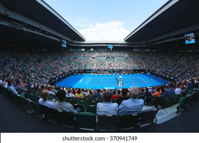 MELBOURNE, AUSTRALIA - JANUARY 28, 2016: Rod Laver arena during Australian Open 2016 match at Australian tennis center in Melbourne Park. It is the main venue for the Australian Open since 1988