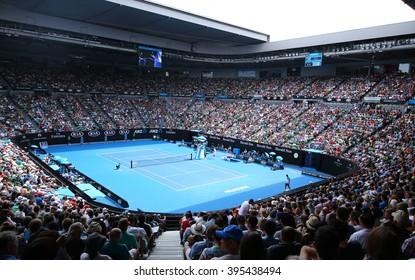 MELBOURNE, AUSTRALIA - JANUARY 28, 2016: Rod Laver arena during Australian Open 2016 match at Australian tennis center in Melbourne Park. It is the main venue for the Australian Open since 1988