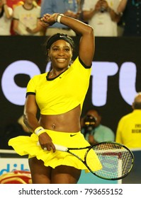 MELBOURNE, AUSTRALIA - JANUARY 28, 2016: Twenty one times Grand Slam champion Serena Williams celebrates victory after her semifinal match at Australian Open 2016 in Melbourne Park