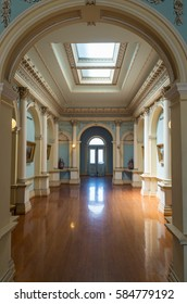 Melbourne, Australia - January 28, 2017: Werribee Park Mansion is a stately home built in 1877. This is the main upstairs gallery.