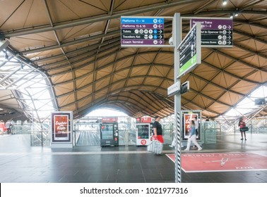 Melbourne, Australia - January 28, 2018: Southern Cross Railway station in Melbourne CBD. It services suburban, regional and interstate trains.