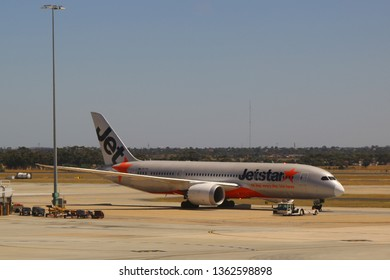 MELBOURNE, AUSTRALIA - JANUARY 28, 2019: Jetstar aircraft on tarmac at Melbourne International Airport. Jetstar Airways is an Australian low-cost airline headquartered in Melbourne, Australia