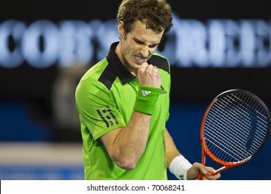 MELBOURNE, AUSTRALIA - JANUARY 28: Andy Murray(GBR)[5] defeats David Ferrer(ESP)[7] at the Australian Open on January 28, 2011 in Melbourne, Australia