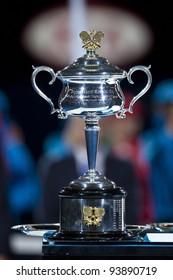 MELBOURNE, AUSTRALIA - JANUARY 28: Australian Open Women's Final, Daphne Ekhurst Memorial Cup won by Victoria Azarenka who defeat Maria Sharapova on January 28, 2012 in Melbourne, Australia