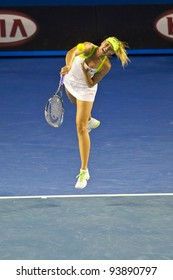 MELBOURNE, AUSTRALIA - JANUARY 28: Australian Open Women's Final, Maria Sharapova of Russia who was defeated by Victoria Azarenka of Belarus on January 28, 2012 in Melbourne, Australia