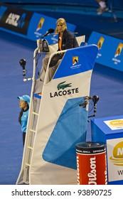 MELBOURNE, AUSTRALIA - JANUARY 28: Chair Umpire at the Australian Open Women's Final, Victoria Azarenka, Belarus defeats Maria Sharapova, Russia on January 28, 2012 in Melbourne, Australia