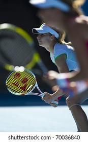 MELBOURNE, AUSTRALIA - JANUARY 28: Maria Kirilenko(RUS)[12] in the women's doubles final at the Australian Open on January 28, 2011 in Melbourne, Australia
