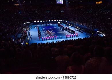 MELBOURNE, AUSTRALIA - JANUARY 28: Rod Laver Arena, Australian Open Women's Final, Victoria Azarenka, Belarus defeats Maria Sharapova, Russia on January 28, 2012 in Melbourne, Australia