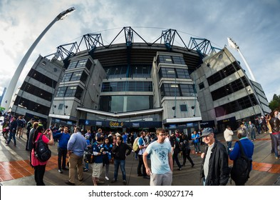 Melbourne, Australia - January 29, 2016: crowds outside the Melbourne Cricket Ground before an Australia v India T20 International cricket match.