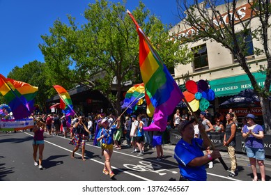 Melbourne / Australia - January 29 2017: People in the march of 2017 Midsumma Festival Gay Pride for celebrating the right of LGBTQ