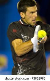 MELBOURNE, AUSTRALIA - JANUARY 29: Australian Open Men's Final, Novak Djokovic of Serbia defeated Rafael Nadal of Spain in a record breaking time of 5:53, on January 29, 2012 in Melbourne, Australia