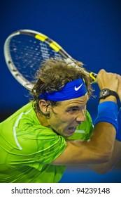 MELBOURNE, AUSTRALIA - JANUARY 29: Australian Open Men's Final,  Rafael Nadal of Spain who was defeated by Novak Djokovic of Serbia on January 29, 2012 in Melbourne, Australia