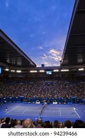 MELBOURNE, AUSTRALIA - JANUARY 29: Australian Open Men's Final at Rod Laver Arena, Novak Djokovic of Serbia who defeated Rafael Nadal of Spain on January 29, 2012 in Melbourne, Australia