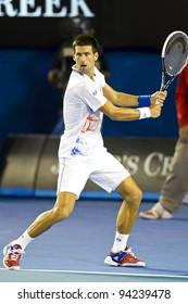 MELBOURNE, AUSTRALIA - JANUARY 29: Australian Open Men's Final, Novak Djokovic of Serbia who defeated Rafael Nadal of Spain on January 29, 2012 in Melbourne, Australia