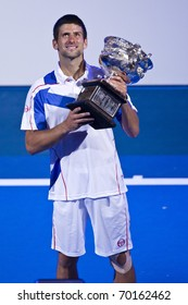 MELBOURNE, AUSTRALIA - JANUARY 30: Australian Open Men's Final, Novak Djokovic(SRB)[3] who defeated Andy Murray(GBR)[5]on January 30, 2011 in Melbourne, Australia