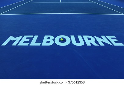 MELBOURNE, AUSTRALIA - JANUARY 31, 2016: Iconic Melbourne sign at Rod Laver Arena with Wilson tennis ball with Australian Open logo at Australian tennis center in Melbourne Park