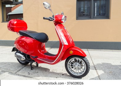 Melbourne, Australia - January 31, 2016: a red Vespa Sprint motor scooter parked in Northcote, a northern Melbourne suburb.