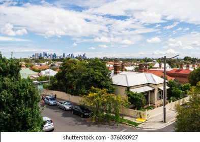 Melbourne, Australia - January 31, 2016: View of the Melbourne, Australia central business district as seen from High Street, Northcote, an inner northern suburb of Melbourne.