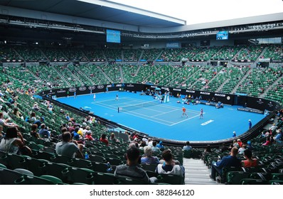 MELBOURNE, AUSTRALIA - JANUARY 31, 2016: Rod Laver arena during Australian Open 2016 match at Australian tennis center in Melbourne Park. It is the main venue for the Australian Open since 1988