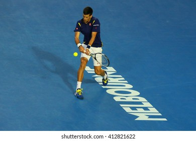 MELBOURNE, AUSTRALIA - JANUARY 31, 2016: Eleven times Grand Slam champion Novak Djokovic of Serbia in action during his Australian Open 2016 final match at Rod Laver Arena in Melbourne Park
