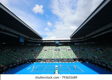 MELBOURNE, AUSTRALIA - JANUARY 31, 2016: Rod Laver arena during Australian Open 2016 match at Australian tennis center in Melbourne Park. It is the main venue for the Australian Open since 1988