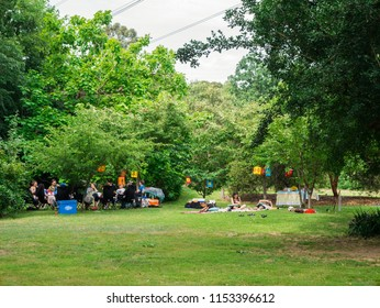Melbourne, Australia - January 7, 2018: people having a picnic at Banksia Park at the Heide Museum of Modern Art in Bulleen, a popular public park.