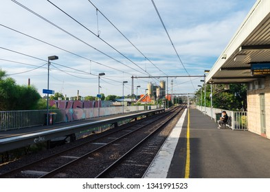 Melbourne, Australia - January 7, 2019: Victoria Park railway station in inner suburban Abbotsford. Victoria Park station is located near the former Collingwood home ground.