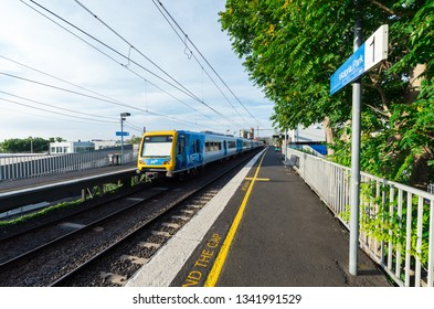 Melbourne, Australia - January 7, 2019: Melbourne Metro suburban electric train at Victoria Park railway station in inner city Abbotsford.