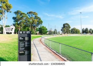 Melbourne, Australia - January 7, 2019: Victoria Park in Abbotsford was the former home ground of the Collingwood Football Club from 1892 to 1999. It is now a public park.