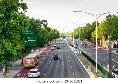 Melbourne, Australia - January 7, 2019: traffic on Hoddle Street in Abbotsford. Hoddle Street or Punt Road is a major arterial road running north south.