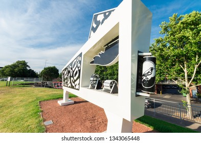 Melbourne, Australia - January 7, 2019: The Final Siren sculpture by Anderson Hunt was erected at Victoria Park in Abbotsford in 2011. It commemorates the old scoreboard.