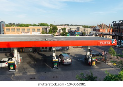 Melbourne, Australia - January 7, 2019: Caltex petrol station on Johnston Street in Abbotsford.