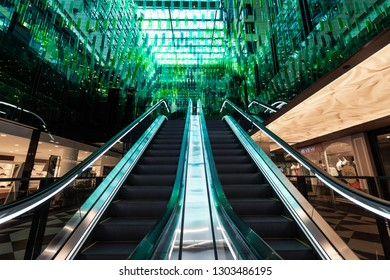 Melbourne, Australia - January 8, 2019: Escalator and interior on the ceiling of St. Collins Lane.