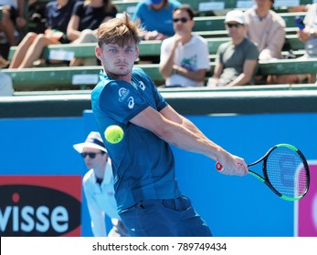 Melbourne, Australia - January 9, 2018: Tennis player David Goffin preparing for the Australian Open at the Kooyong Classic Exhibition tournament