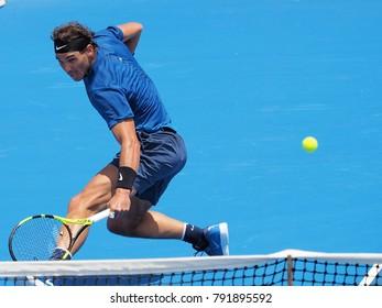 Melbourne, Australia - January 9, 2018: Tennis player Rafael Nadal preparing for the Australian Open at the Kooyong Classic Exhibition tournament